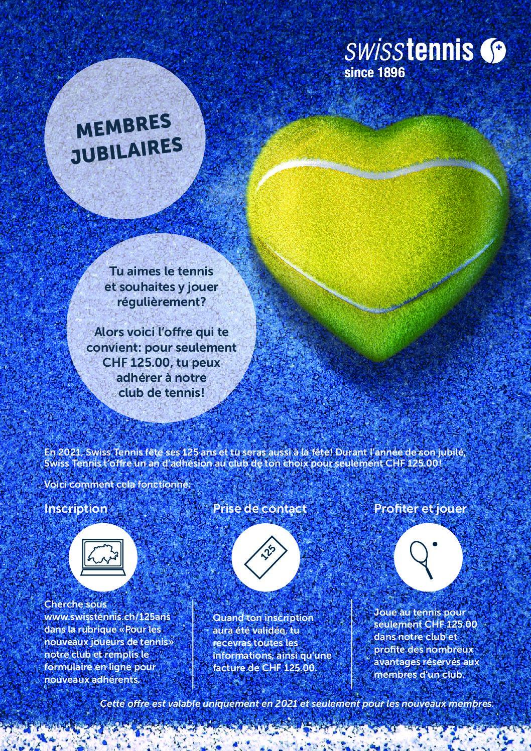 Offre exceptionnelle Swiss Tennis